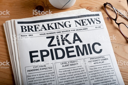 ZIKA virus headline on a mock newspaper.